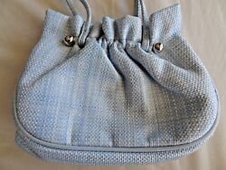 English Designer Lulu Guinness Baby Blue White Woven Hand Bag Evening Purse  $34.99