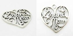 Grand Mom grandmother Heart Family 925 Sterling Silver Charm Pendant Necklace