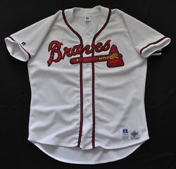 Atlanta Braves Jersey Spell Out Cursive Blank White Russell Mens Sewn 48 Xl