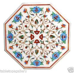 24 Marble Coffee Table Top Mosaic Turquoise Floral Inlay Interior Decors H1617