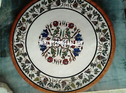 30and039and039 Marble Coffee Table Top Gemstone Grapes And Parrot Inlay Interior Decor H3195