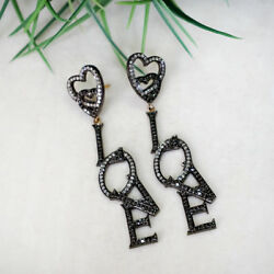 2.5ct Pave Diamond 925 Sterling Silver Love Dangle Earrings 14 K Gold Jewelry Oy