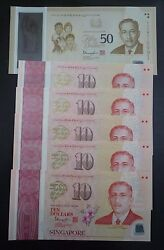 Singapore Complete Set 2015 Polymer Sg50 Commemorative Banknote 10x5 And 50 Unc