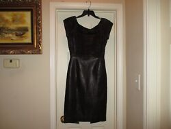 Black Leather Dress With Stripes Top Size 38 7500.