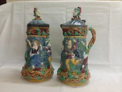 Minton Majolica Tower Two 2 Jugs/pitchers With Pewter Lid