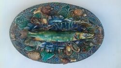 Palissy Majolica Barbotine French Antique Platter With Fish. Rare Piece. France