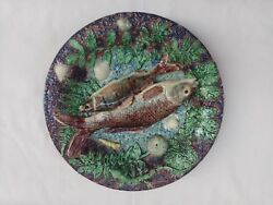 Palissy Majolica Barbotine French Antique Platter With Fish. Barbizet. France