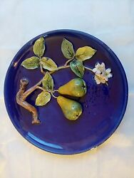 Palissy Majolica Barbotine. French Antique Plate. Possibly Menton.