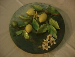 Palissy Majolica Barbotine French Antique Plate. Longchamp. France