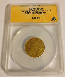 1770 Papal States Coin Zecchino Anacs Au 53 Gold Pope Clement Xiv Au-53 Rare