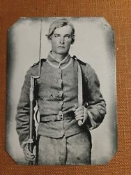 Civil War Confederate-musket-bowie-historical Museum Quality Tintype C079rp