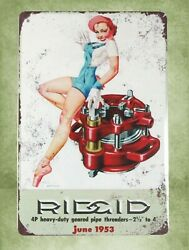Home Decor For Less 1953 Rigid Pipe Threaders Pinup Tin Metal Sign