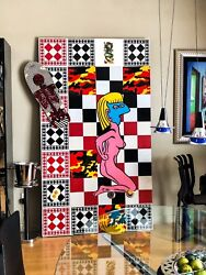 Extremely Rare And Huge Ronnie Cutrone Mixed Media Collage On Wood 7 Ft By 4 Ft