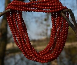 Vintage Necklace Undyed Natural Coral Oxblood 588g Silver Clasp