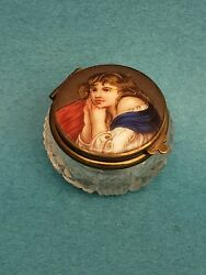 Antique Handpainted Porcelain And Glass Powder Or Snuff Box With Portrait And Mirror