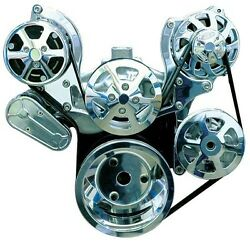 Sbc Serpentine Pulley Kit, Billet Polished Clear W/ac W/power Steering Chevy Ems