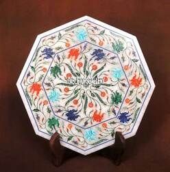 12and039and039 White Marble Marquetry Inlay Tiles/plate Collectible Gifts Arts Decor H3714