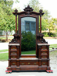 Outstanding Walnut Victorian Marble Top Drop Center Dresserbrown Marble