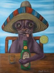 Chihuahua Dog Beer Ugly Sombrero Humor Bar Funny  Drinking Bizarre Tequila