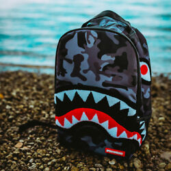 Brand New SPRAYGROUND Chenille Black Camo Shark Deluxe Bag $49.99