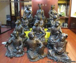 Chinese Red Bronze China Palace classical Sign animal twelve Zodiac Statue Set