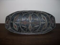 Antique Vintage Moroccan Wooden Tray Dish Plate Metal Leather No Maker's Mark