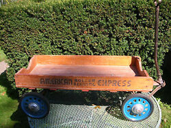 Antique American Roller Bearing Express Wooden Wagon/slotted Rims/rubber Tire