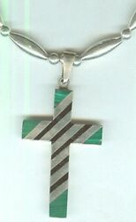 Adjustable Malachite And Onyx Inlay Cross Pendant Necklace Lots Of Sterling