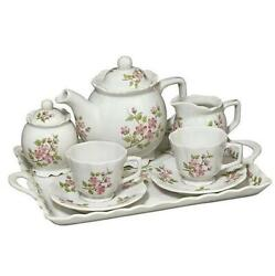 Andrea By Sadek 10pc Pink Flowers China Breakfast Set For Two / Tea Party 21383