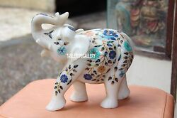 10and039and039 Rare Sculpture White Marble Elephant Handmade Inlaid Collectible Art H3163