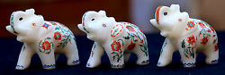 3 Pcs Antique Marble Small Elephant Micro Mosaic Inlay Floral Decor Gifts H1969