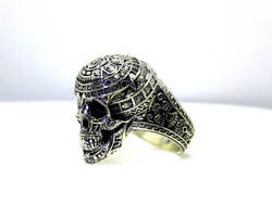 SKULL WITH THE MAYA CALENDAR HEAVY STERLING SILVER RING FOR MEN PREMIUM QUALITY