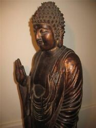 Antique 18th/ 19th Chinese Wood Statue Buddha Ming Style Wanly Mark 64 Cm Tall