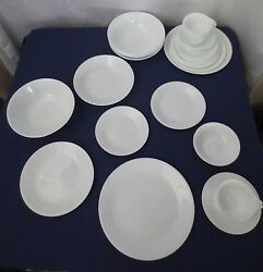 33 Pc Corelle Vitrelle Winter Frost White Dishes Dinner Plates Bowls Pasta Cups