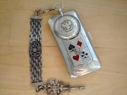 Antique Lubavin Imperial Russian Silver Playing Cards Cigarette Case With Watch