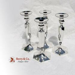 Tall Hexagonal Beaded Candlesticks Sterling Silver 4 Pieces Rodger Williams 1894