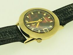 Vintage 14k Yellow Gold Bulova Accutron With Red Marble Dial