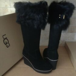 Ugg Valberg Toscana Fur Cuff Black Suede Wedge Tall Boots Size Us 8 Womens