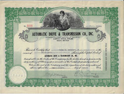 New Jersey 1934 Automatic Drive And Transmission Co Inc Stock Certificate