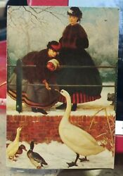 Victorian Trading 900 Woman And Geese Enclosure Business Calling Place Card 24f