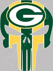 Green Bay Packers Punisher Skull Sticker/decal For Car/truck/boat 3-24 Gbpp1