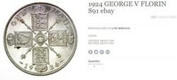 1924 George V Florin About Unc Coin S91
