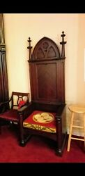 Large Antique Gothic Mahogany Wood Church Throne Bishops Chair Religious