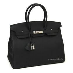 BNIB AUTHENTIC HERMES BIRKIN 35cm BLACK TOGO LEATHER SILVER HARDWARE HANDBAG BAG