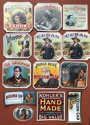 Lot Of 13 Unused Cigar Box Labels 1900s The Round-up Judge Best Joe Anderson