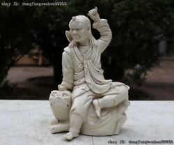 Chinese Old De Hua White Porcelain Pottery Arhat Buddha Sit On Lion Statue