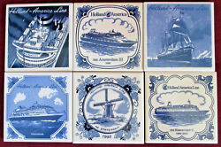 Holland America Line Tiles Six Pieces With M.s. Statendam Tile