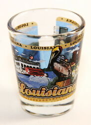 LOUISIANA STATE WRAPAROUND SHOT GLASS SHOTGLASS $7.61