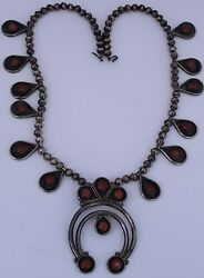 Early Old Coral And Sterling Silver Squash Blossom Native American Navajo Necklace