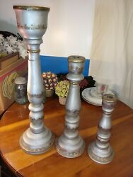 Antique Vintage Set Of 3 Handcrafted Wood And Brass Candle Holders Rare Unique